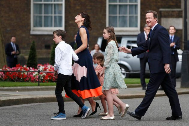 Britain's outgoing Prime Minister, David Cameron, accompanied by his wife Samantha, daughters Nancy and...