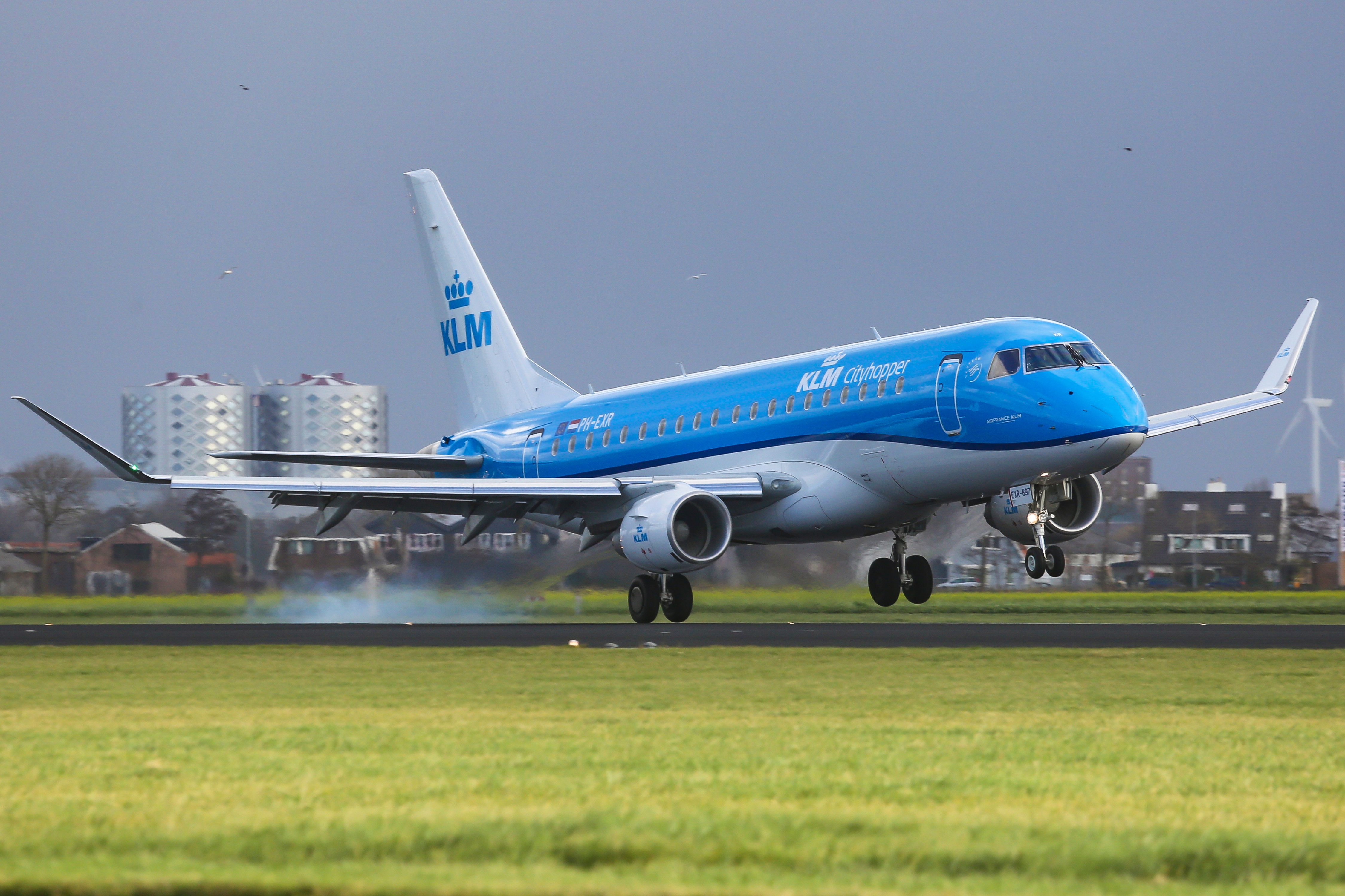 KLM, the Royal Dutch Airlines as seen in Amsterdam, Schiphol Airport in November 2017 while landing, taking off and taxiing. KLM uses Amsterdam airport as the main hub to connect with Europe,  Africa, Middle East, America and Asia. Recently KLM phased out their older Fokker planes. Nowadays KLM uses Boeing 737, 747, 787 Dreamliner, Airbus A330 and Embraer 190 and 175. KLM has 3 subsidiaries KLM Cityhopper, Transavia and Martinair. The current fleet of KLM (exuding subsidiaries) is 119 planes and 18 orders of next generation aircrafts like Airbus A350 and Boeing 787 Dreamliner. KLM is part of SKYTEAM alliance (Photo by Nicolas Economou/NurPhoto via Getty Images)