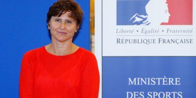 Roxana Maracineanu au ministère des Sports pour son entrée en fonction, le 4
