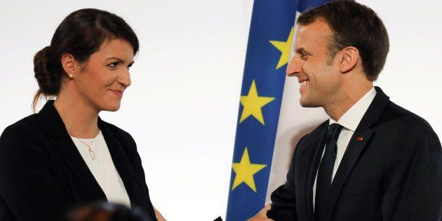 Emmanuel Macron et sa secrétaire d'Etat à l'égalité entre les femmes et les hommes Marlène