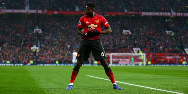 Paul Pogba célébrant son but lors de Manchester United-Brighton le 19 janvier