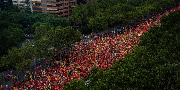 A Barcelone, un million d'indépendantistes catalans défilent pour l'indépendance en ce jour