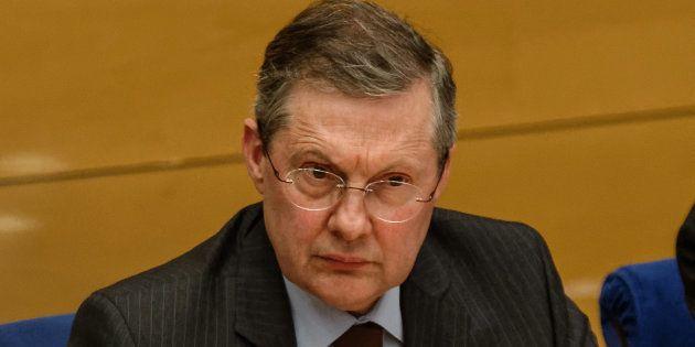 Philippe Bas présidant la commission d'enquête sénatoriale auditionnant Alexandre Benalla le 16 janvier