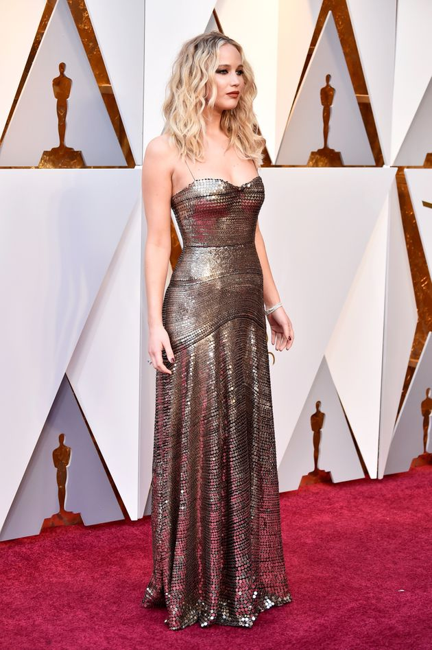 HOLLYWOOD, CA - MARCH 04: Jennifer Lawrence attends the 90th Annual Academy Awards at Hollywood & Highland...