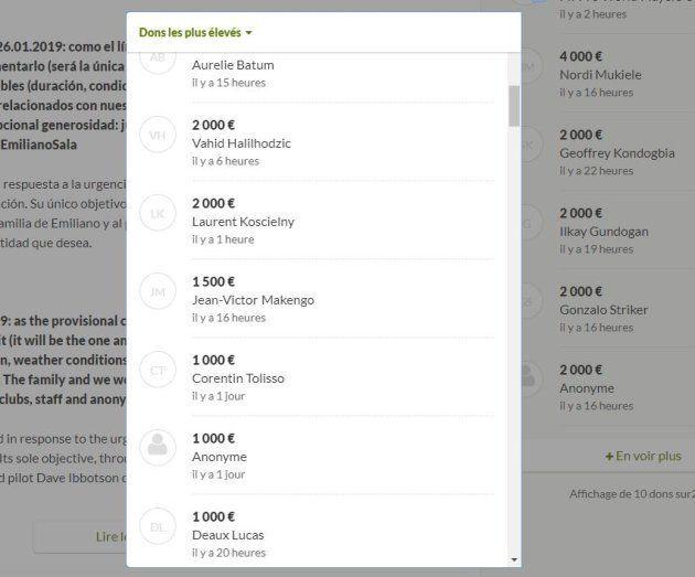 Capture d'écran des donateurs sur Gofundme pour Emiliano
