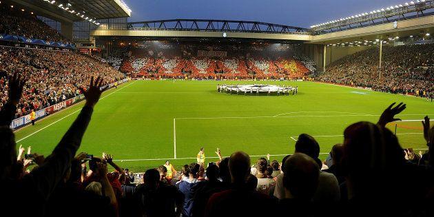 Anfield juste avant le coup d'envoi de Liverpool-Ludogorets en Ligue des champions le 16 avril
