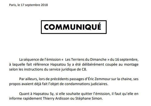 Thierry Ardisson à Hapsatou Sy après son accrochage avec Éric Zemmour: