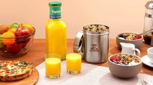 """Du jus d'orange aux céréales du petit-déjeuner, des emballages """"zéro déchets""""."""