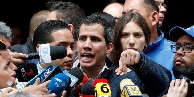 Au Venezuela, Juan Guaido, ici le 27 janvier à Caracas, a annoncé