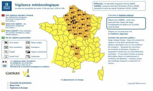 Carte diffusée par Météo France sur la tempête Gabriel dans la nuit de mardi à