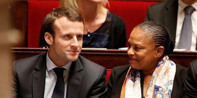 Emmanuel Macron et Christiane Taubira sous le précédent