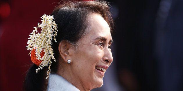 Aung San Suu Kyi à New Delhi le 26 janvier
