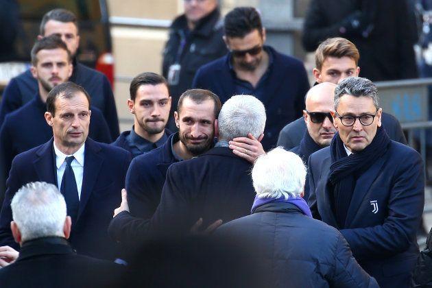 Massimiliano Allegri etGiorgio Chiellini, de la Juventus, aux funérailles de Davide
