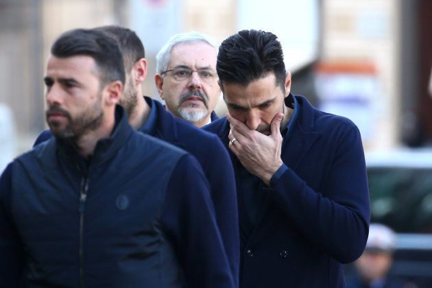 Gianluigi Buffon aux funérailles de Davide