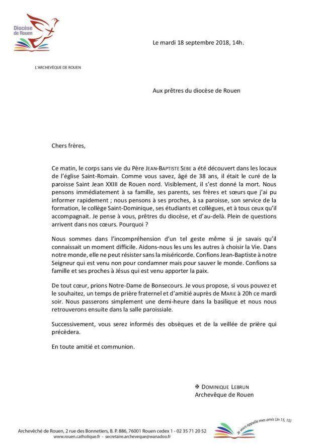 Rouen : un prêtre accusé d'agression sexuelle sur une fille se suicide dans son