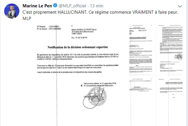 Capture d'un tweet effacé par Marine Le