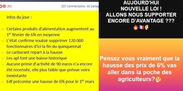 Captures de réactions dans les groupes de gilets jaunes sur Facebook sur les augmentations de la loi