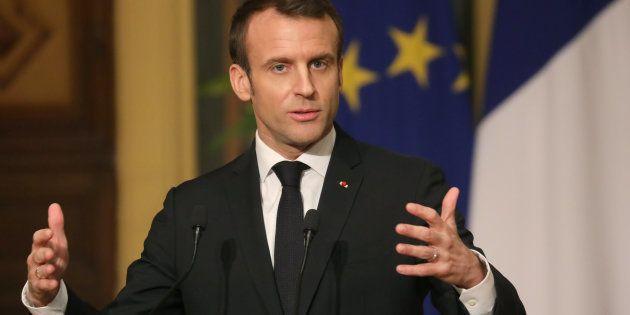 Emmanuel Macron lors d'un discours donné à l'occasion de sa récente visite en