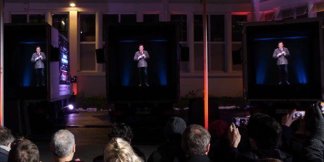 Quatre camions vont sillonner 471 petites villes de France pour y diffuser les hologrammes des candidats...