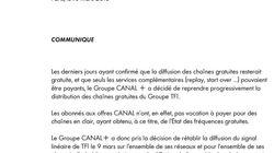 Canal+ va rétablir la diffusion des chaînes de TF1 pour tous ses