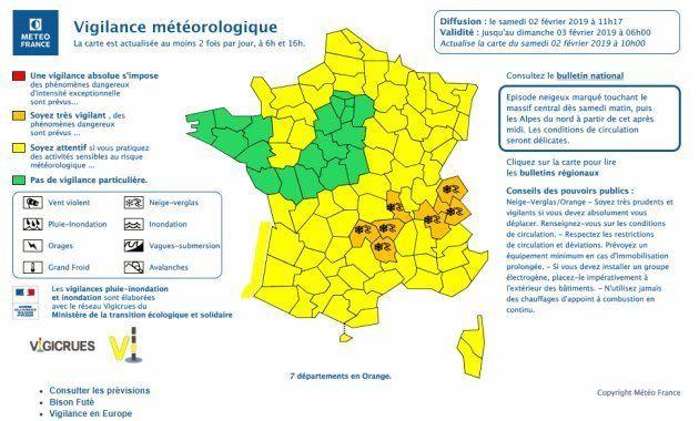 Météo France a placé 6 départements en vigilance orange