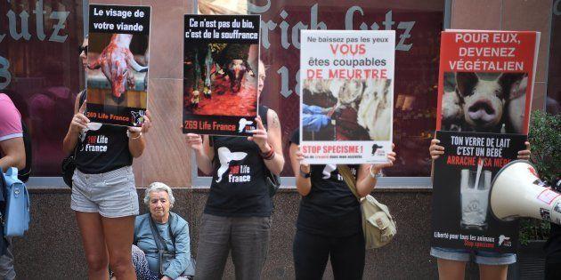 Des militants de l'association végane 269 Life France devant une boucherie à Strasbourg, le 4 août 2018.