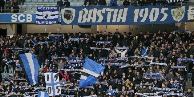 Des supporters bastiais lors de Bastia - Saint-Etienne le 4 mars