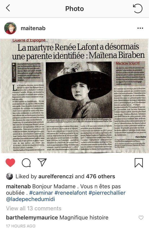 Renée Lafont, exécutée le 1er septembre 1936 par les franquistes serait une lointaine parent de l'animatrice...