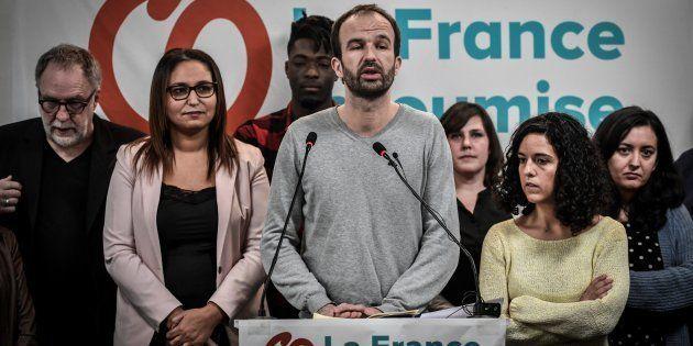 Manuel Bompard, n°2 de la liste de la France insoumise aux européennes, perquisitionné (Photo prise le...