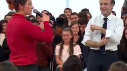 Une jeune volontaire interpelle Macron sur l'autisme avec beaucoup de