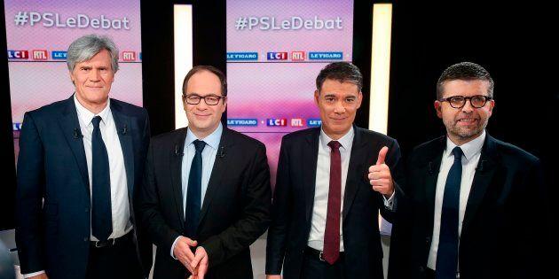 Stéphane Le Foll, Emmanuel Maurel, Olivier Faure et Luc Carvounas lors du débat au PS sur LCI le 7 mars