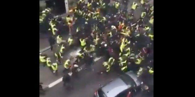 Images des affrontements partagées sur les réseaux