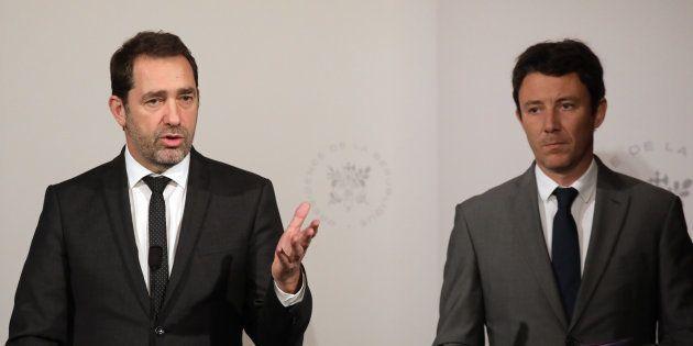 Le ministre de l'Intérieur Christophe Castaner et le porte-parole du gouvernement Benjamin Griveaux ont...
