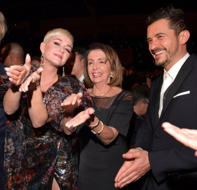 LOS ANGELES, CA - FEBRUARY 08: (L-R) Katy Perry, Nancy Pelosi and Orlando Bloom attend MusiCares Person...