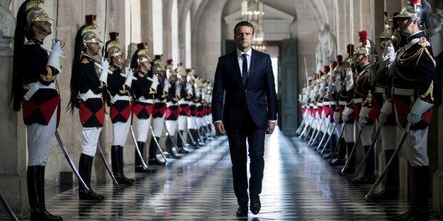 Emmanuel Macron arrivant au congrès de Versailles, convoqué en juillet
