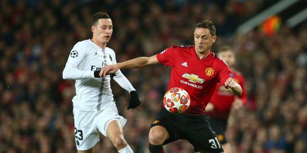 Duel entre Nemanja Matic et Julian Draxler lors du match Manchester United contre Paris Saint
