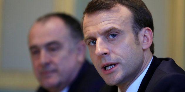 Emmanuel Macron et Didier Guillaume, ministre de l'agriculture, à l'Elysée le 11 février 2019. (photo