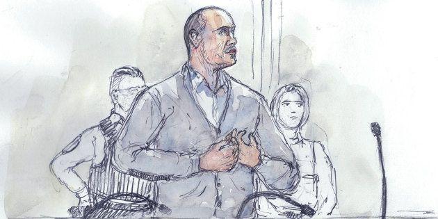Un dessin de presse de Christophe Dettinger lors de son procès au palais de justice de Paris le 13 février