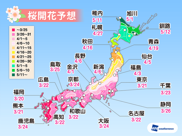 いよいよ桜の開花前線到来 ただし週末の気温変化には要注意