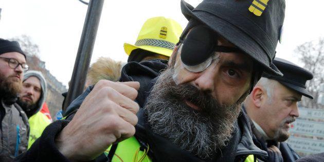 Jerome Rodrigues, figure des gilets jaunes, lors de l'acte XIII samedi 9 février à