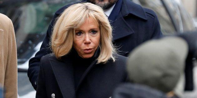Brigitte Macron lors des funérailles de Michel Legrand à Paris le 1er