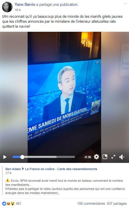 BFMTV met en doute les chiffres de la mobilisation donnés par le ministère de l'Intérieur, les gilets...