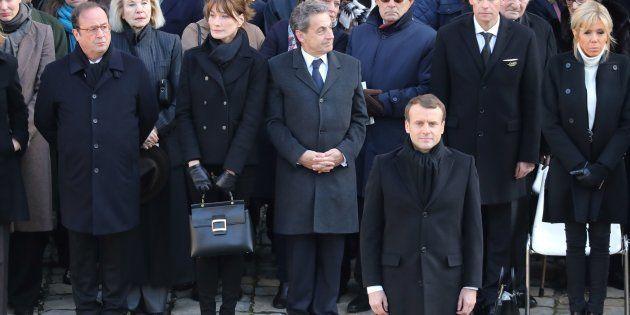 François Hollande, Nicolas Sarkozy et Emmanuel Macron durant l'hommage à Jean d'Ormesson aux Invalides...