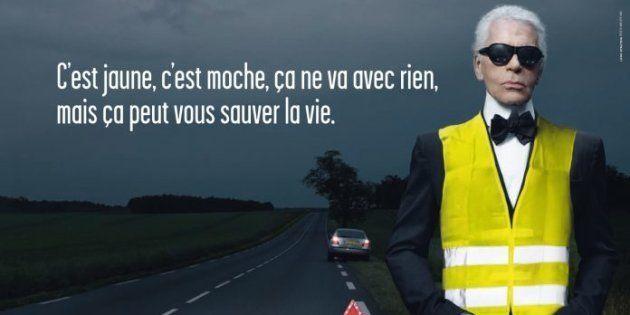 Karl Lagerfeld sur la campagne d'affichage de la sécurité routière sur le port obligatoire du gilet jaune,...
