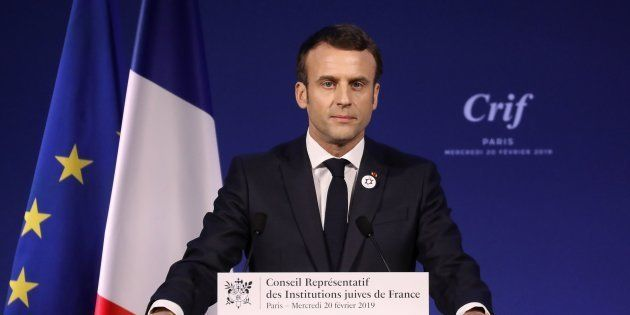 Emmanuel Macron lors de son discours pendant le 34e dîner du Crif à Paris le 20 février