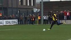 À l'entraînement du Dortmund, Usain Bolt ne risquait pas de se faire un