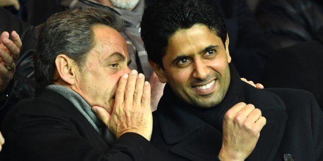 Nicolas Sarkozy, ici à côté du président du Paris Saint-Germain, Nasser al-Khelaïfi est au cœur des réseaux...