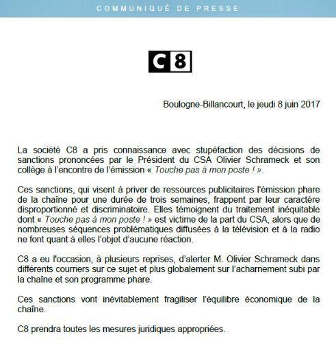 C8 dénonce