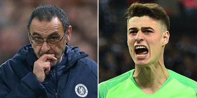 Maurizio Sarri, le coach de Chelsea, et Kepa Arrizabalaga, son gardien, ont plaidé un malentendu pour...