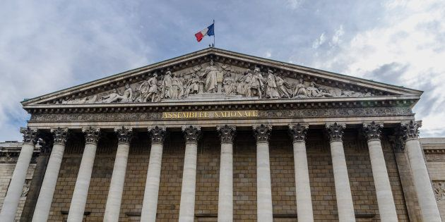 National assembly facade in the city of Paris, France. Asemblee